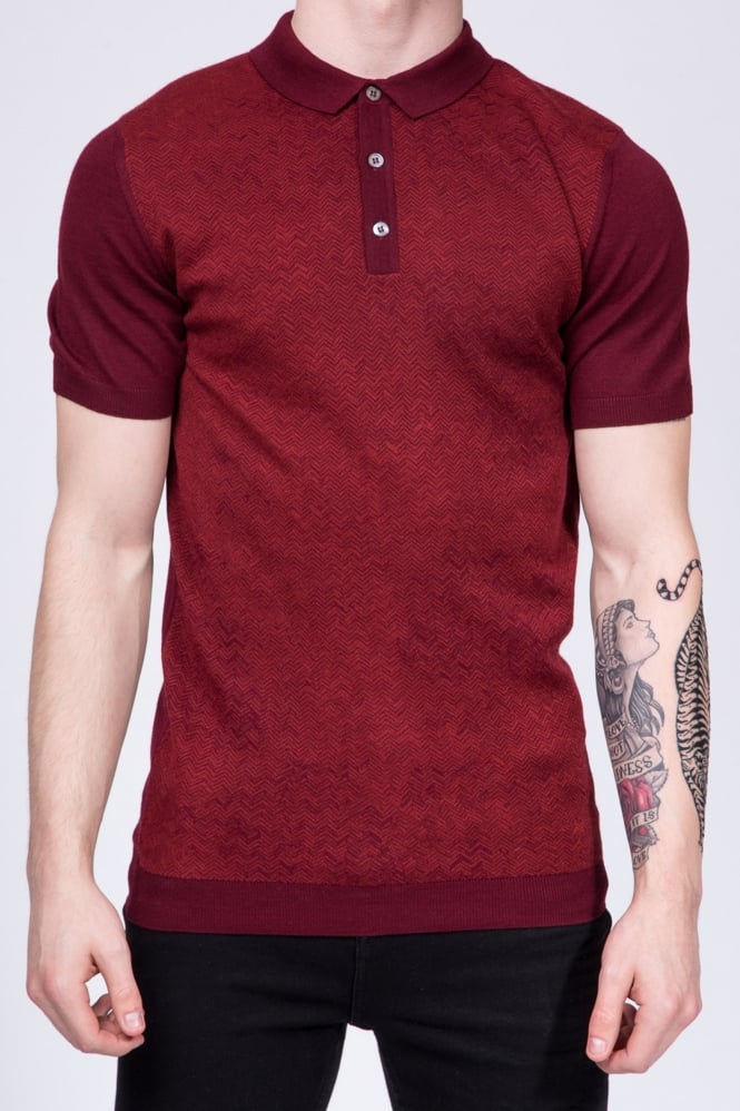 Remus Uomo Slim Fit Knitted Polo Shirt Red