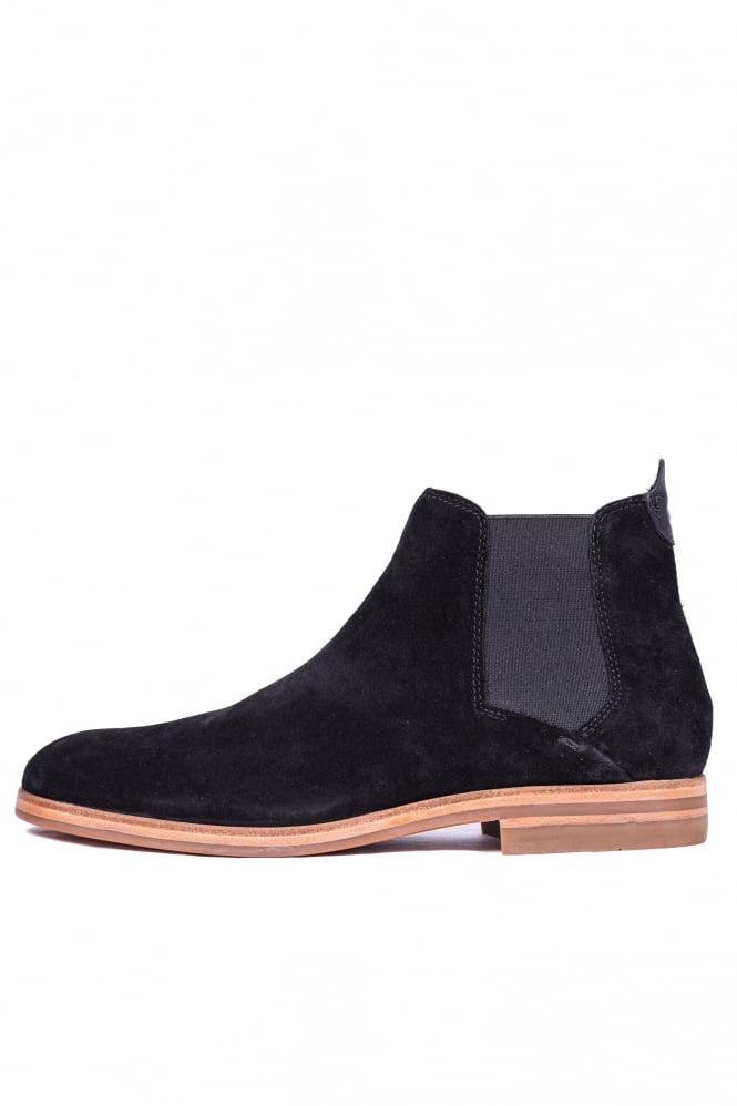 H by Hudson Tonti Suede Mid Chelsea Boots Black