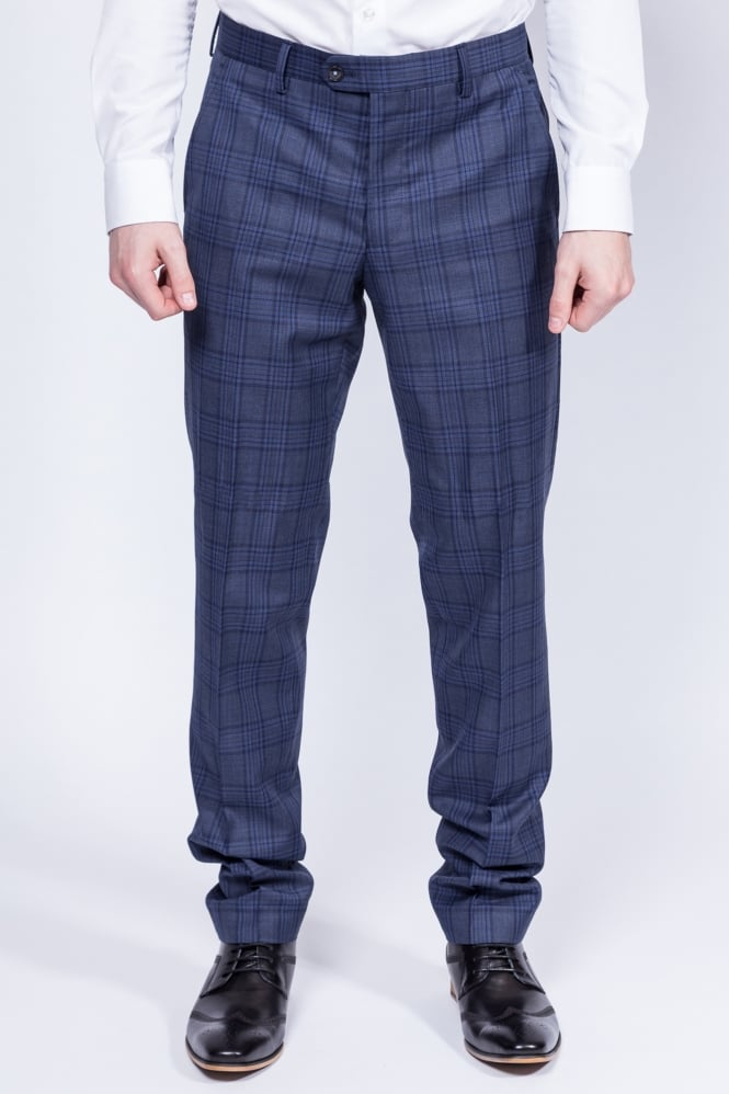 Remus Uomo Livo Checked Trousers Navy