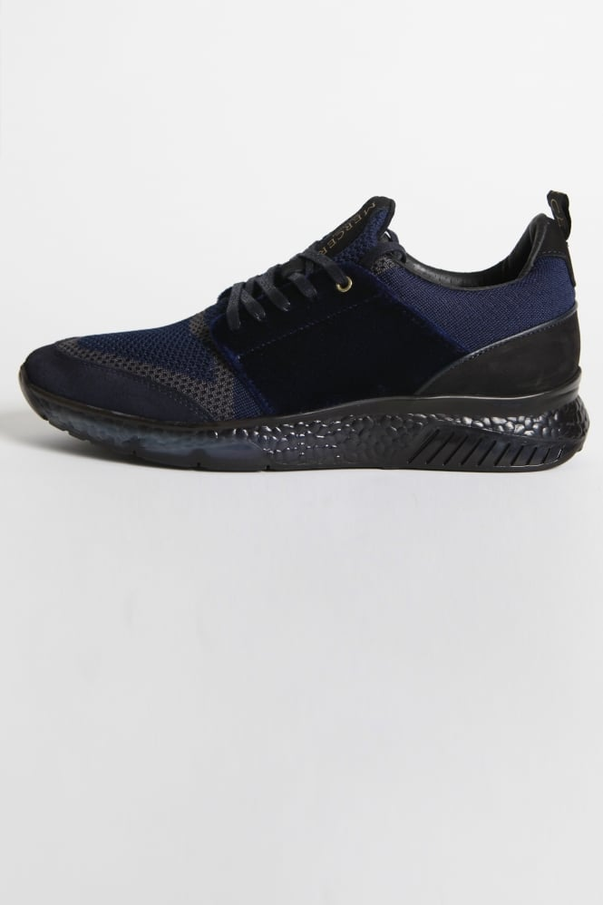 Mercer Amsterdam Waverly Knit/Velvet Trainers Navy