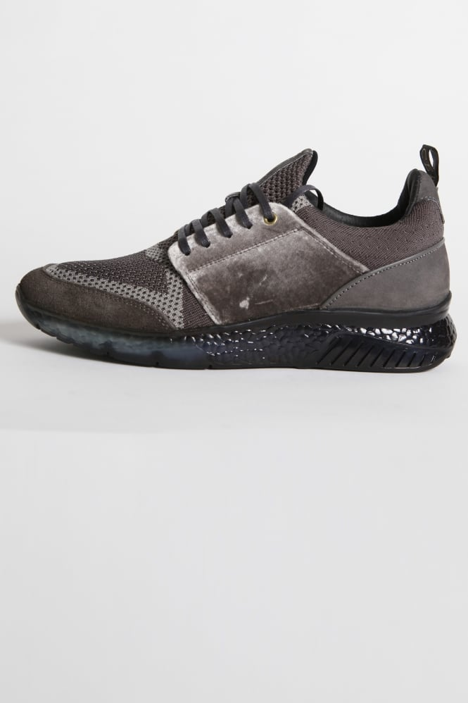 Mercer Amsterdam Waverly Knit/Velvet Trainers Grey