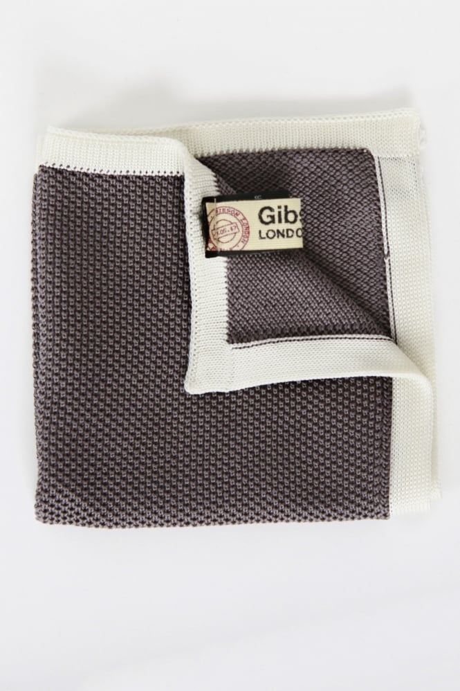 Gibson Woven Trim Pocket Square Grey