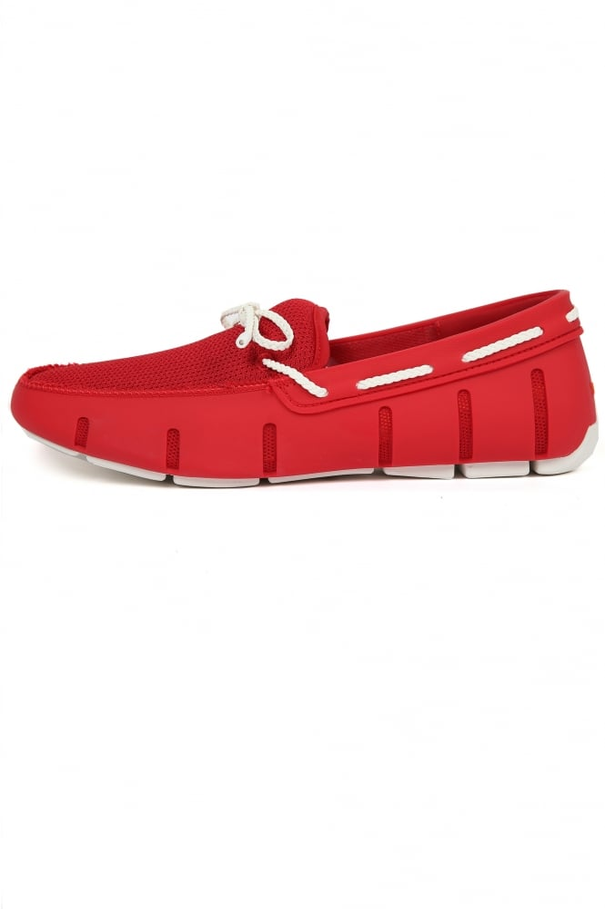 Swims Braided Lace Loafers Red