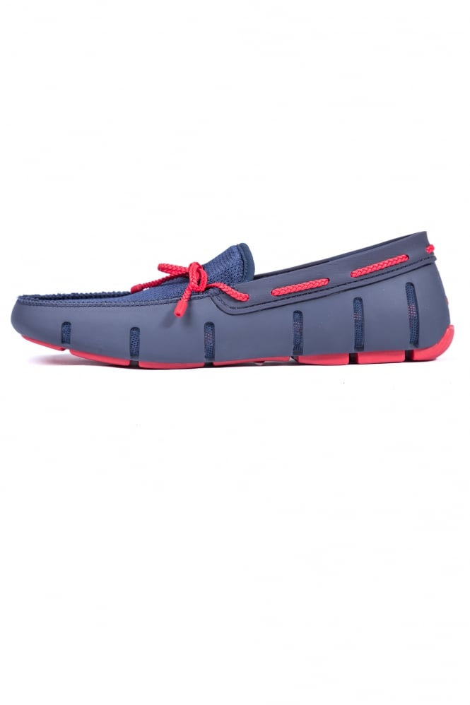 Swims Braided Lace Loafers Navy/Red