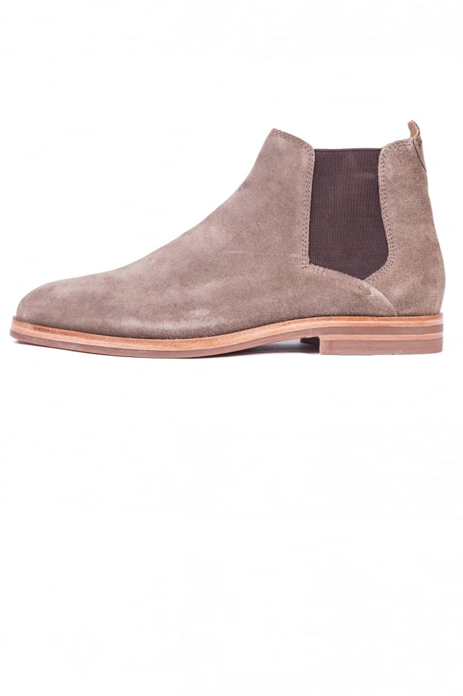 Hudson London Tonti Suede Mid Chelsea Boots Taupe