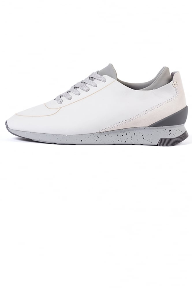 H by Hudson Sime Nubuck Trainers White