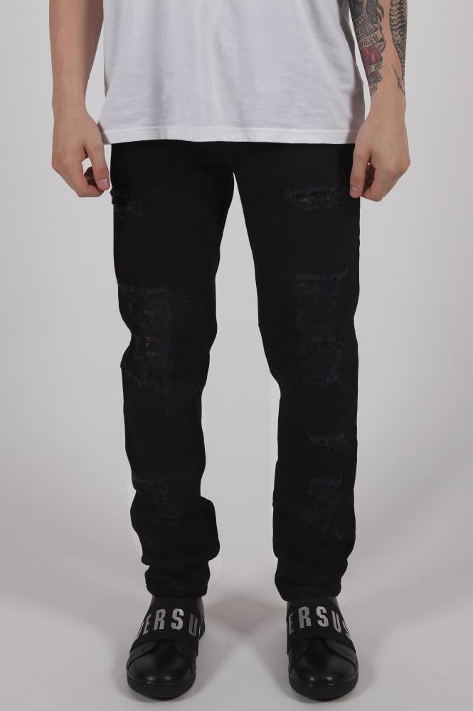 Versus Versace Pin Pocket Ripped Jeans Black