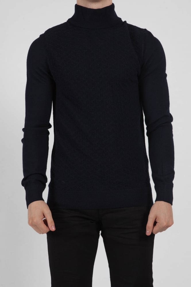 Remus Uomo Long Sleeved Turtle Neck Navy