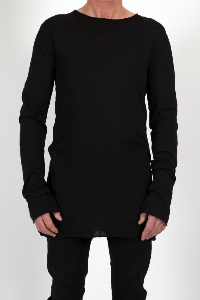 Barbara I Gongini Longline Rough Edge T-Shirt Black