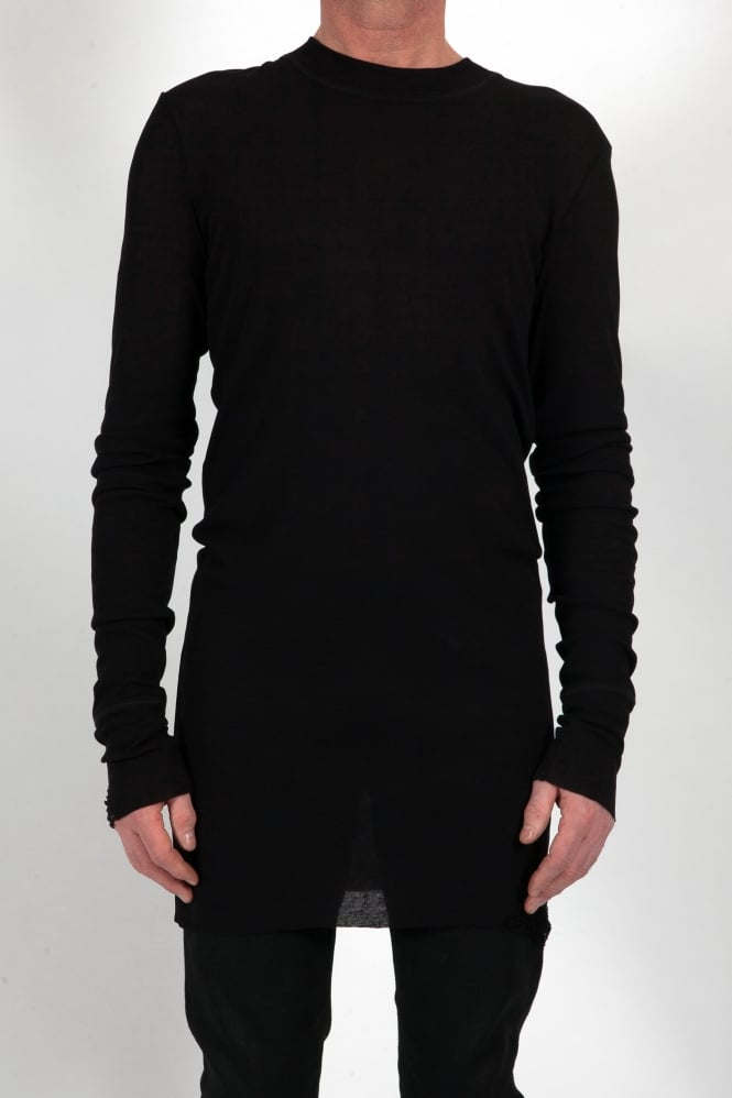 Barbara I Gongini Long Sleeved Long Line T-Shirt Black