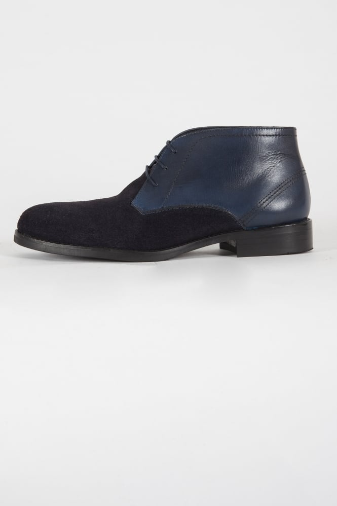 Paolo Vandini Sorley Leather & Suede Shoes Navy
