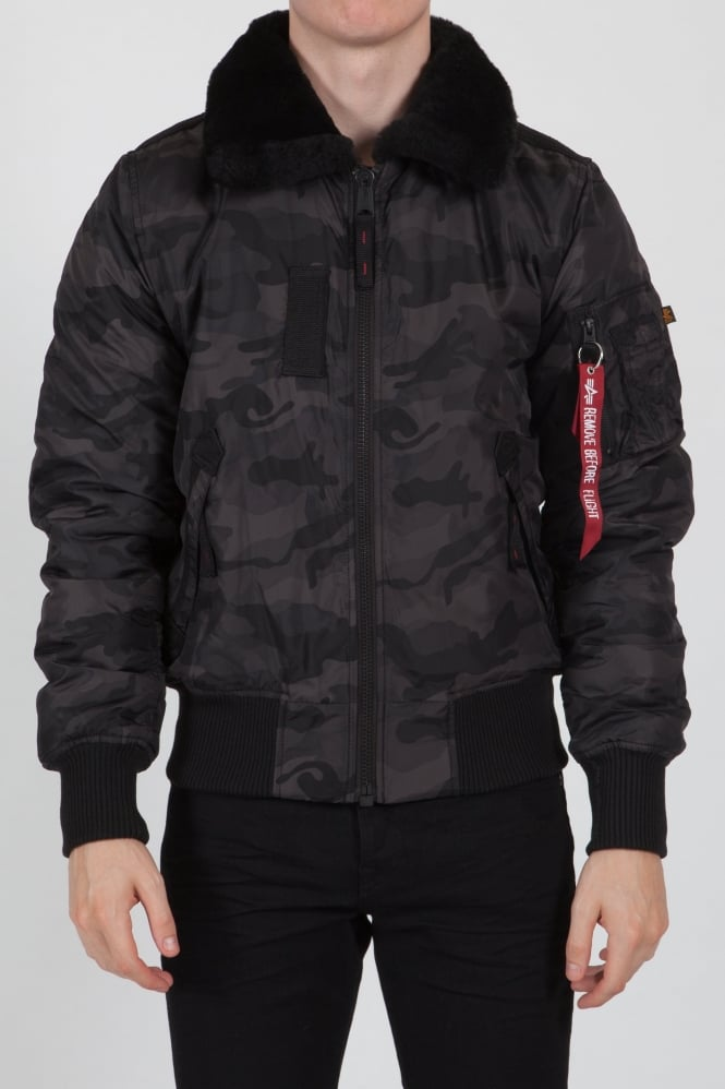 Alpha Industries Injector Bomber Jacket Black Camo