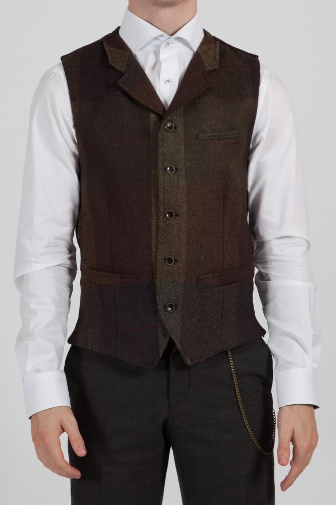 Gibson Mixed Checked Waistcoat Green/Brown