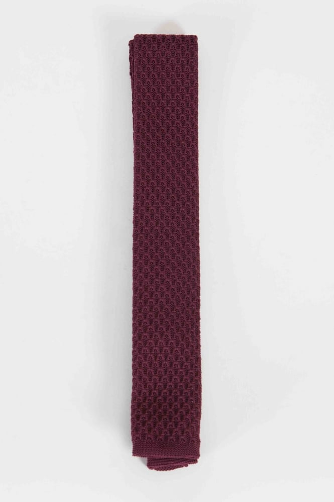 Gibson Smart Knitted Tie Burgundy