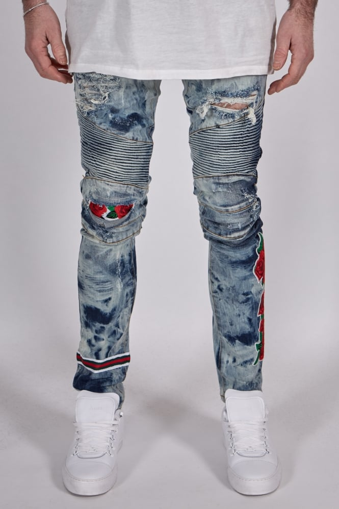 Embellish Costello Biker Jeans Blue