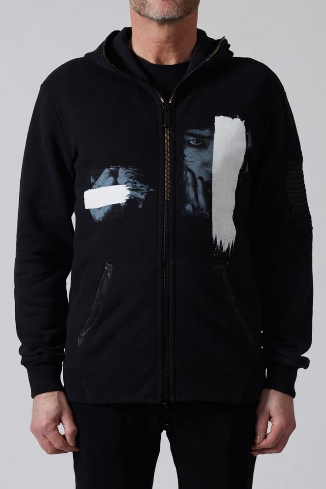RH45 Print Leather Patch Hoodie Black
