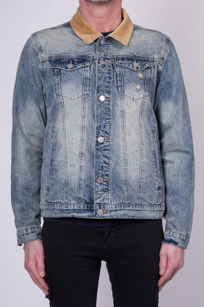 Profound Aesthetic Floral Birds Denim Jacket Blue