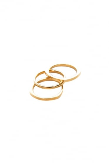 Shapes 3 Piece Ring Gold
