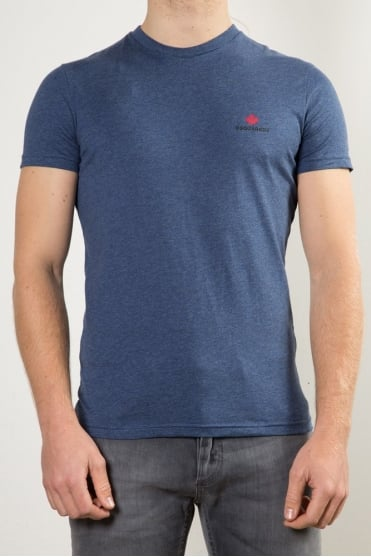 Maple Leaf Crew Neck T-Shirt Blue