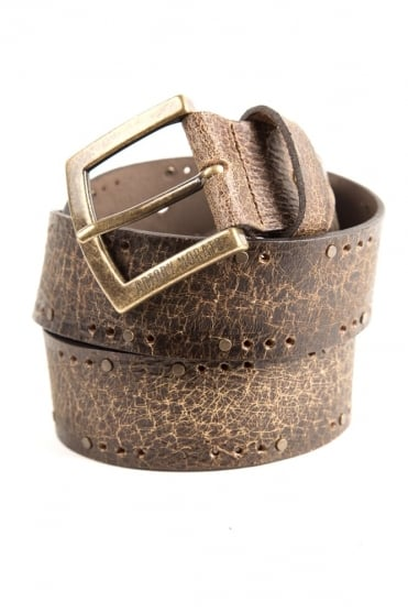 Antiqued Leather Belt Brown