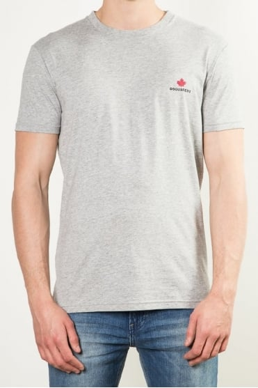Maple Leaf Crew Neck T-Shirt Grey