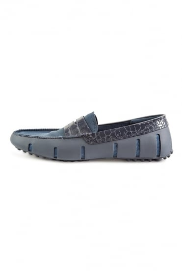 Penny Alligator Loafers Navy