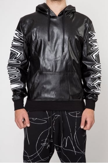 Punk Work Leather Hoodie Black