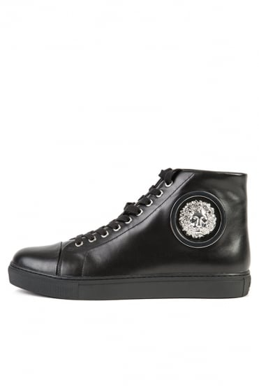 Lion Logo Hi Top Trainers Black