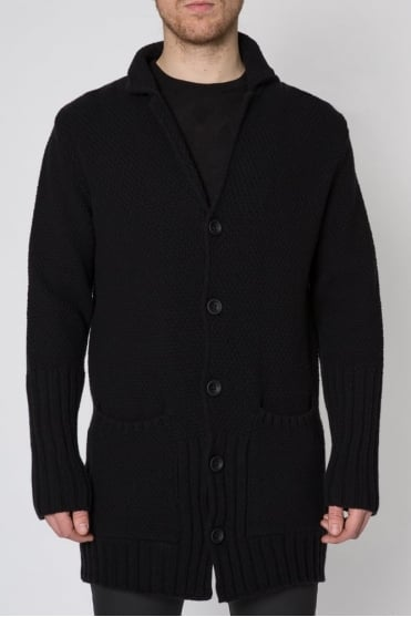Knitted Button Down Cardigan Black