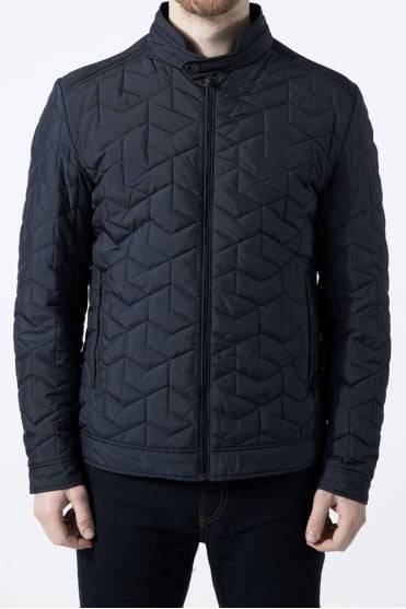 Quilted Biker Jacket Navy