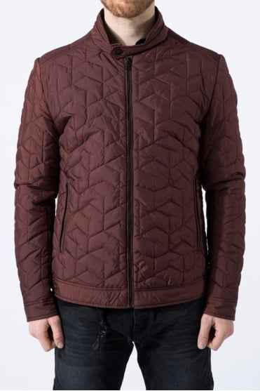 Quilted Biker Jacket Burgundy