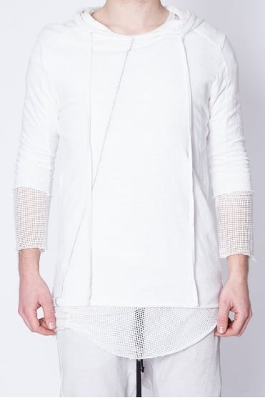 Double Layer Mesh Detail Hoodie White