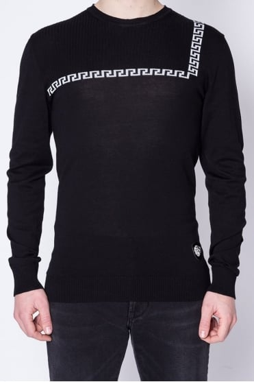Crew Neck Knitted Sweater Black