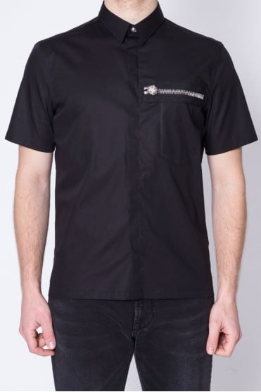 Lion Zip Detail Shirt Black