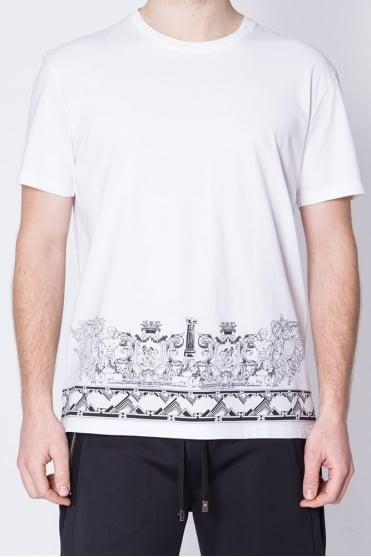 Bottom Print Crew Neck T-Shirt White