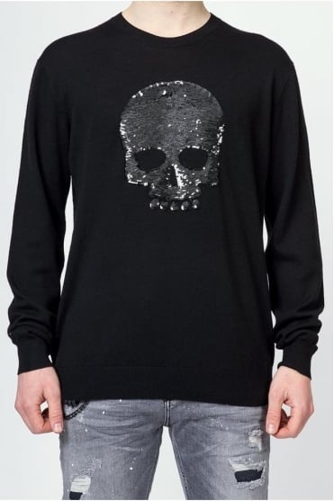Sequin Skull Jason Jumper Black