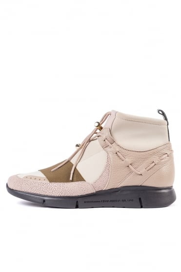 Runyon Neoprene Mid Trainers Tan/Olive