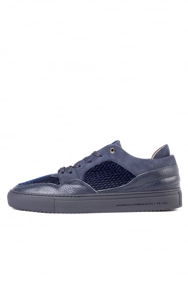Omega Quilted Velvet Trainers Navy