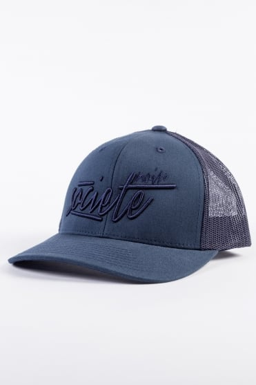 Signature Scribble Trucker Cap Navy