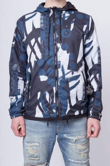 Reversible Pattern Lightweight Jacket Navy/White/Black