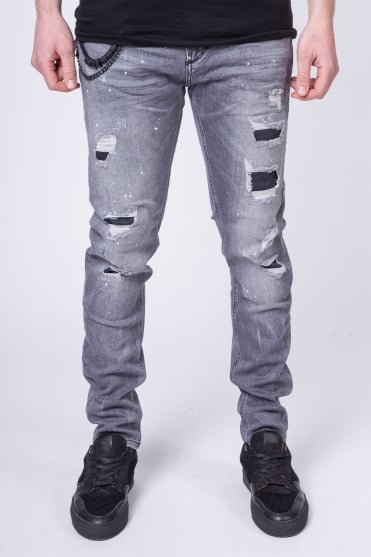 Tyler Carrot Stretch Jeans Grey