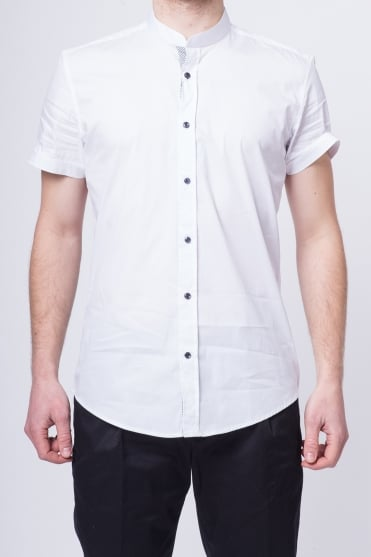 Grandad Collar Shirt White