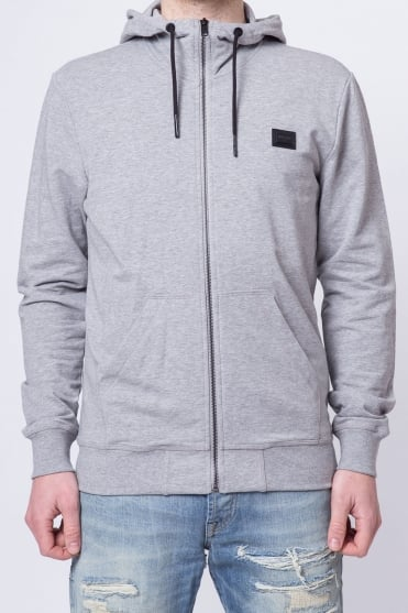 Badged Basic Hooded Sweatshirt Grey
