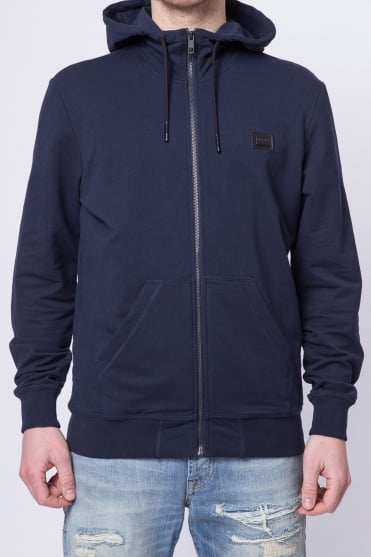 Badged Basic Hooded Sweatshirt Navy