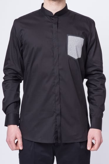 Grandad Collar Pocket Print Shirt Black