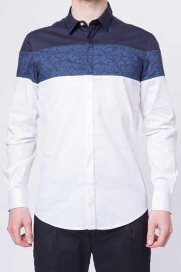 Panel Long Sleeve Shirt Navy/White