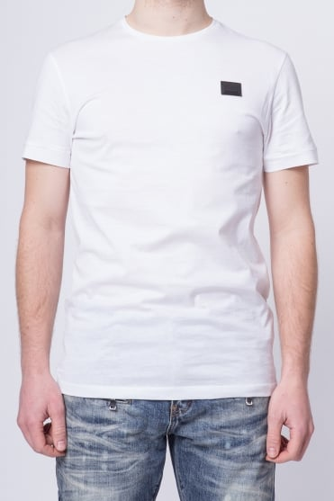 Basic Badged Crew Neck T-Shirt White