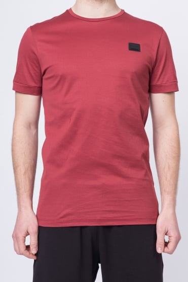 Basic Badged Crew Neck T-Shirt Red