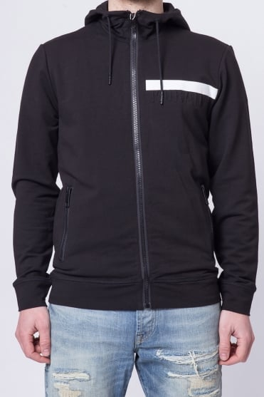 Embossed Hooded Sweatshirt Black