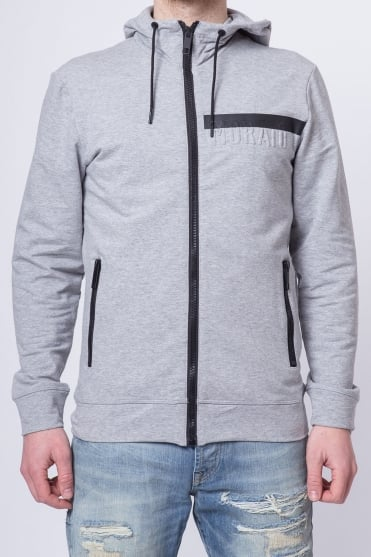 Embossed Hooded Sweatshirt Grey